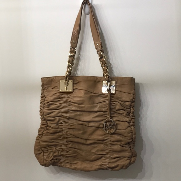 MICHAEL KORS Authentic Brown Ruched Tote Bag